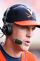 Brian O'Connor, head coach of the Virginia Cavaliers is interviewed by ESPN during Game Two of the NCAA Super Regional tournament against the Oklahoma Sooners at Charlottesville, VA - 06/13/2010. Oklahoma defeated Virginia, 10-7, to tie the series after two games.  Photo By Bill Mitchell / Four Seam Images