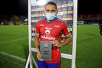 PASTO-COLOMBIA, 28-02-2021: Ray Vanegas de Deportivo Pasto es eljugador partido entre Deportivo Pasto y America de Cali de la fecha 10 por la Liga BetPlay DIMAYOR I 2021 jugado en el estadio Departamental Libertad de la ciudad de Pasto. / Ray Vanegas of Deportivo Pasto is the player of the match between Deportivo Pasto and America de Cali of the 10th date for the BetPlay DIMAYOR I 2021 League played at the Departamental Libertad Stadium in Pasto city. / Photo: VizzorImage / Leonardo Castro / Cont.