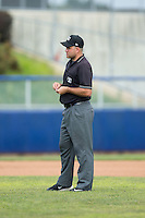 Umpire Zach Tieche handles the calls on the bases during the Carolina League game between the Lynchburg Hillcats and the Salem Red Sox at LewisGale Field at Salem Memorial Baseball Stadium on August 7, 2016 in Salem, Virginia.  The Red Sox defeated the Hillcats 11-2.  (Brian Westerholt/Four Seam Images)