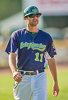 29 June 2014:  Vermont Lake Monsters Manager David Newhan returns to the dugout during a game against the Lowell Spinners at Centennial Field in Burlington, Vermont. The Lake Monsters fell to the Spinners 7-5 in NY Penn League action. Mandatory Credit: Ed Wolfstein Photo *** RAW Image File Available ****