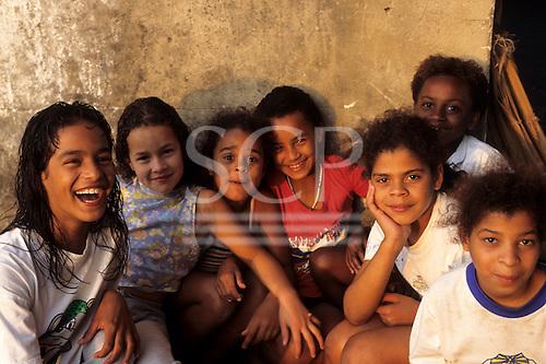 Rio de Janeiro, Brazil. Street children; group of girls at the Sao Martin street children's centre.