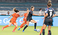 HOUSTON, TX - SEPTEMBER 10: Katie Johnson #33 of the Chicago Red Stars looks to pass the ball in front of Allysha Chapman #2 of the Houston Dash during a game between Chicago Red Stars and Houston Dash at BBVA Stadium on September 10, 2021 in Houston, Texas.