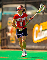 25 April 2009: Stony Brook University Seawolves' midfielder Amy Hallion, a Senior from Glenelg, South Australia, in action against the University of Vermont Catamounts at Moulton Winder Field in Burlington, Vermont. The Lady Cats defeated the visiting Seawolves 19-11 in Vermont's last home game of the 2009 season. Mandatory Photo Credit: Ed Wolfstein Photo