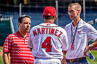 22 September 2018: Washington Nationals Radio Broadcasters Charlie Slowes (left) and Dave Jageler (right) chat with Manager Dave Martinez prior to a game against the New York Mets at Nationals Park in Washington, DC. The Nationals shut out the Mets 6-0 in the 3rd game of their 4-game series. Mandatory Credit: Ed Wolfstein Photo *** RAW (NEF) Image File Available ***