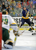 16 February 2008: Merrimack College Warriors' forward J.C. Robitaille, a Sophomore from Des Ruisseaux, Quebec, in action against the University of Vermont Catamounts at Gutterson Fieldhouse in Burlington, Vermont. The Catamounts defeated the Warriors 2-1 for their second win of the 2-game weekend series...Mandatory Photo Credit: Ed Wolfstein Photo