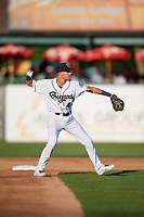 Kane County Cougars shortstop Ryan Dobson (4) throws to first base during a game against the West Michigan Whitecaps on July 19, 2018 at Northwestern Medicine Field in Geneva, Illinois.  Kane County defeated West Michigan 8-5.  (Mike Janes/Four Seam Images)