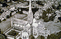Overview of Salisbury Cathedral in Salisbury, England. Britain's tallest spire and best preserved Magna Carta.