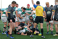 TRY - Referee,  Adam Leal gives the score during the Championship Cup Quarter Final match between Ealing Trailfinders and Nottingham Rugby at Castle Bar , West Ealing , England  on 2 February 2019. Photo by Carlton Myrie / PRiME Media Images.