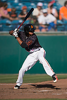 San Jose Giants right fielder Johneshwy Fargas (49) at bat during a California League game against the Lancaster JetHawks at San Jose Municipal Stadium on May 12, 2018 in San Jose, California. Lancaster defeated San Jose 7-6. (Zachary Lucy/Four Seam Images)