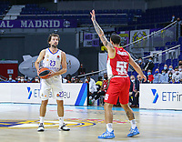 13th October 2021; Wizink Center; Madrid, Spain; Turkish Airlines Euroleague Basketball; game 3; Real Madrid versus AS Monaco; Sergio Llull (Real Madrid Baloncesto)looks to pass by Mike James (AS Monaco)