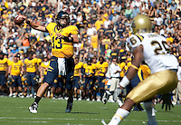 Kevin Riley pass the ball on the run. The California Golden Bears defeated the UCLA Bruins 35-7 at Memorial Stadium in Berkeley, California on October 9th, 2010.