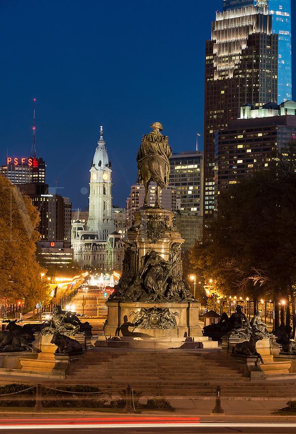 Ben Franklin Parkway and City Hall, Philadelphia, Pennsylvania, USA
