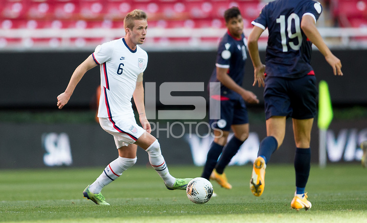 ZAPOPAN, MEXICO - MARCH 21: Jackson Yueill #6 of the United States moves with the ball during a game between Dominican Republic and USMNT U-23 at Estadio Akron on March 21, 2021 in Zapopan, Mexico.