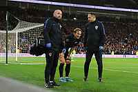 Luka Modrić of Croatia leaves the pitch injured during the UEFA Euro 2020 Qualifier between Wales and Croatia at the Cardiff City Stadium in Cardiff, Wales, UK. Sunday 13 October 2019