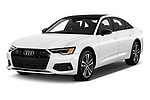 2021 Audi A6-Sedan Premium-Plus 4 Door Sedan Angular Front automotive stock photos of front three quarter view