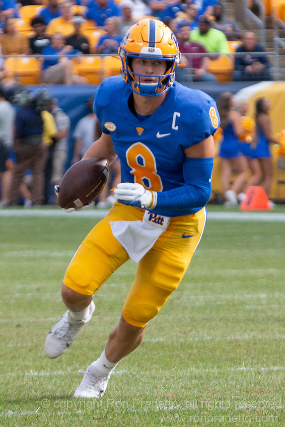 Pitt quarterback Kenny Pickett. The Pitt Panthers defeated the UMass Minutemen 51-7 on September 4, 2021 at Heinz Field, Pittsburgh, PA.
