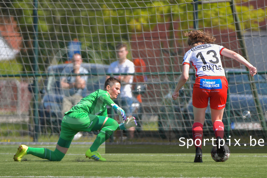 Geena Lisa Buyle (13) of Zulte Waregem and goalkeeper Willeke Willems (1) of Woluwe  pictured during a female soccer game between SV Zulte - Waregem and White Star Woluwe on the 10 th and last matchday in play off 2 of the 2020 - 2021 season of Belgian Scooore Womens Super League , saturday 29 of May 2021  in Zulte , Belgium . PHOTO SPORTPIX.BE | SPP | DIRK VUYLSTEKE