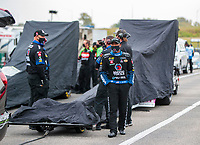 Oct 3, 2020; Madison, Illinois, USA; NHRA top fuel driver Antron Brown during a rain delay to qualifying for the Midwest Nationals at World Wide Technology Raceway. Mandatory Credit: Mark J. Rebilas-USA TODAY Sports