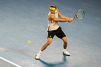 16th February 2021, Melbourne, Victoria, Australia; Alexander Zverev of Germany returns the ball during the quarterfinals of the 2021 Australian Open on February 16 2021, at Melbourne Park in Melbourne, Australia.
