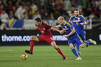 Carson, CA - Sunday January 28, 2018: Matt Polster, Tomislav Tomić during an international friendly between the men's national teams of the United States (USA) and Bosnia and Herzegovina (BIH) at the StubHub Center.