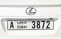 Licence plate on Lexus in Dubai in UAE United Arab Emirates