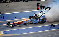 Apr. 14, 2012; Concord, NC, USA: NHRA top fuel dragster driver Clay Millican during qualifying for the Four Wide Nationals at zMax Dragway. Mandatory Credit: Mark J. Rebilas-