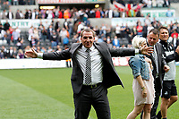 Npower Championship, Swansea City FC (white) V Sheffield United. Sat 7th May 2011 (12.45pm KO)<br /> The Swans celebrate reaching the playoffs with a lap arond the ground<br /> Pictured: Proud Swans manager Brendan Rodgers<br /> Picture by: Ben Wyeth / Athena Picture Agency<br /> info@athena-pictures.com<br /> 07815 441513