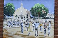Europe/France/Languedoc-Roussillon/66/Pyrénées-Orientales/Vallespir/St-Laurent-de-Cerdan: Mur peint représentant une sardane, danse traditionnelle catalane