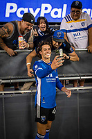 SAN JOSE, CA - AUGUST 17: Cade Cowell #44 of the San Jose Earthquakes takes a selfie with fans after a game between San Jose Earthquakes and Minnesota United FC at PayPal Park on August 17, 2021 in San Jose, California.