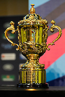 The Webb Ellis Trophy on display during the Rugby World Cup 2015 Venues and Match Schedule Launch at Twickenham Stadium on Thursday 2nd May 2013 (Photo by Rob Munro)