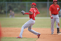 St. Louis Cardinals Delvin Perez (7) during a minor league Spring Training game against the Washington Nationals on March 27, 2017 at the Roger Dean Stadium Complex in Jupiter, Florida.  (Mike Janes/Four Seam Images)