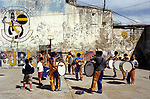 Buenos Aires Argentina South America BsAs Football fans drum  or preparation of a Boca Junior Saturday game 2002 2000s
