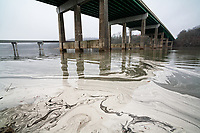 Coal fly ash contamination on surface of water, Kingston Fossil Plant, Kingston, Tennessee