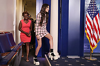 Olivia Rodrigo, arrives during a news conference in the James S. Brady Press Briefing Room with Jen Psaki, White House press secretary, at the White House in Washington, D.C., U.S., on Wednesday, July 14, 2021. <br /> CAP/MPI/RS<br /> ©RS/MPI/Capital Pictures