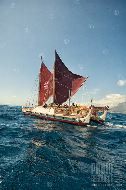"""Hawaiian voyaging canoe Hokule'a near Cape Town, South Africa, Thursday, November 12, 2015. Hokule'a was on a """"Malama Honua"""" (Care for the Earth) worldwide voyage to raise awareness about the importance of protecting the world's oceans, considered the greatest environmental challenge of our time."""