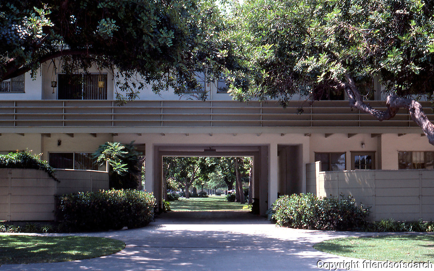 """Clarence S. Stein: """"Consultant and Site Planner"""" Baldwin Hills Village. Entrance, Rodeo Road side. Photo '84."""