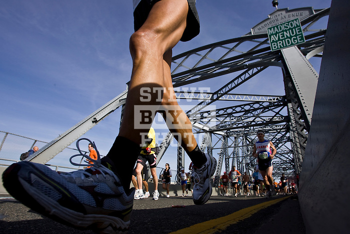 A view of the 2008 ING New York City Marathon from the Madison Avenue Bridge connecting the Bronx to Manhattan on November 2, 2008 in New York City, New York.  The racers enter Manhattan for the final time as they approach mile 21 on the course.