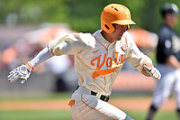 Tennessee Volunteers shortstop Nick Senzel (13) runs to first during a game against the Vanderbilt Commodores at Lindsey Nelson Stadium on April 24, 2016 in Knoxville, Tennessee. The Volunteers defeated the Commodores 5-3. (Tony Farlow/Four Seam Images)