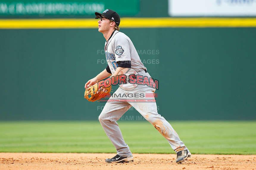 Second baseman Matt Antonelli #17 of the Syracuse Chiefs on defense against the Charlotte Knights at Knights Stadium on June 19, 2011 in Fort Mill, South Carolina.  The Knights defeated the Chiefs 10-9.    (Brian Westerholt / Four Seam Images)