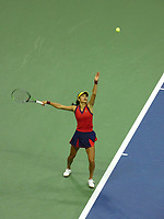 10th September 2021: Billie Jean King Centre, New York, USA: USA Open tennis championships, womens singles semi-final Emma Raducanu versus Maria Sakkari: Raducanu serves to Sakkari