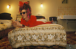Tony James front man of the 1980s punk rock band Sigue Sigue Sputnik. In a bed and breakfast hotel Newcastle upon Tyne.