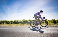 Davide Formolo (ITA/UAE-Emirates) is the last one rolling in behind the peloton<br /> <br /> Stage 10 from île d'Oléron (Le Château-d'Oléron) to Île de Ré (Saint-Martin-de-Ré)(169km)<br /> <br /> 107th Tour de France 2020 (2.UWT)<br /> (the 'postponed edition' held in september)<br /> <br /> ©kramon