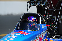Jul. 30, 2011; Sonoma, CA, USA; NHRA top fuel dragster driver Mike Strasburg during qualifying for the Fram Autolite Nationals at Infineon Raceway. Mandatory Credit: Mark J. Rebilas-