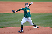Siena Saints pitcher Matt Gage #45 delivers a pitch against Central Florida on February 16, 2013 at Jay Bergman Field in Orlando, Florida.  Siena defeated UCF 7-4.  (Mike Janes/Four Seam Images)