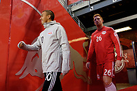 Harrison, NJ - Tuesday April 10, 2018: Alejandro Romero Gamarra, Tim Parker prior to leg two of a  CONCACAF Champions League semi-final match between the New York Red Bulls and C. D. Guadalajara at Red Bull Arena. C. D. Guadalajara defeated the New York Red Bulls 0-0 (1-0 on aggregate).
