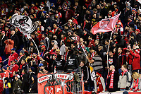 Harrison, NJ - Tuesday April 10, 2018: Fans during leg two of a  CONCACAF Champions League semi-final match between the New York Red Bulls and C. D. Guadalajara at Red Bull Arena. C. D. Guadalajara defeated the New York Red Bulls 0-0 (1-0 on aggregate).