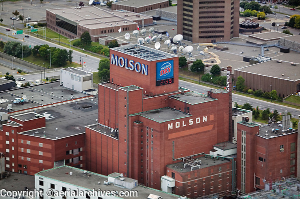 aerial photograph of the Molson Brewery, Montreal, Quebec, Canada, founded in 1786 is the oldest brewery in North America | photographie aérienne de la brasserie Molson, Montréal, Québec, Canada