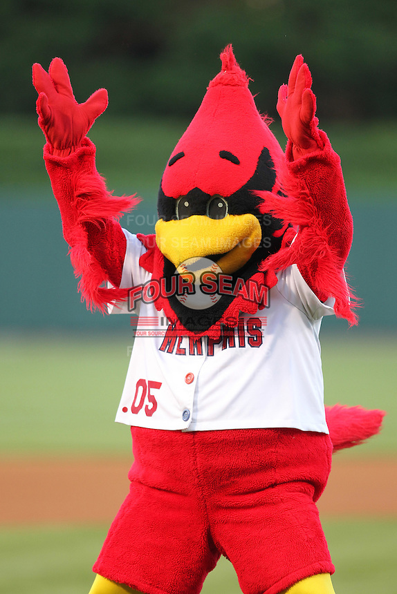 Memphis Redbirds Rockey Redbird before a game versus the Round Rock Express at Autozone Park on April 28, 2011 in Memphis, Tennessee.  Memphis defeated Round Rock by the score of 6-5 in ten innings.  Photo By Mike Janes/Four Seam Images