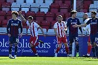 Luke Norris of Stevenage FC scores the first Goal and celebrates during Stevenage vs Bradford City, Sky Bet EFL League 2 Football at the Lamex Stadium on 5th April 2021