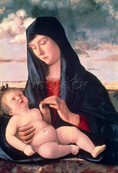 Madonna and Child in a Landscape  c. 1480  Giovanni Bellini (c.1430-1516/Italian)